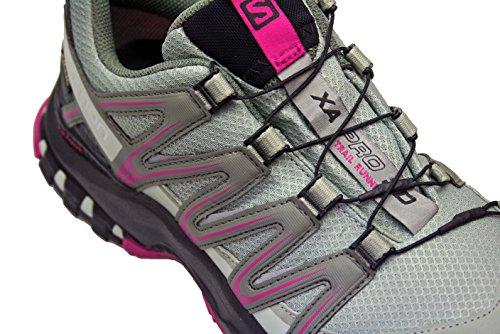 Salomon XA Pro 3D GTX, Chaussures de Trail Femme, Bleu, XX gris/noir/rose foncé