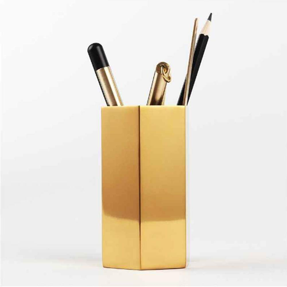 WAYCOM Pencil Cup Holder Desk Organizer,Gold Makeup Brush Holder Pencil Cup Pen Container Desktop Stationery Organizer Durable Metal for Office or Home Décor(Hexagonal Prism)