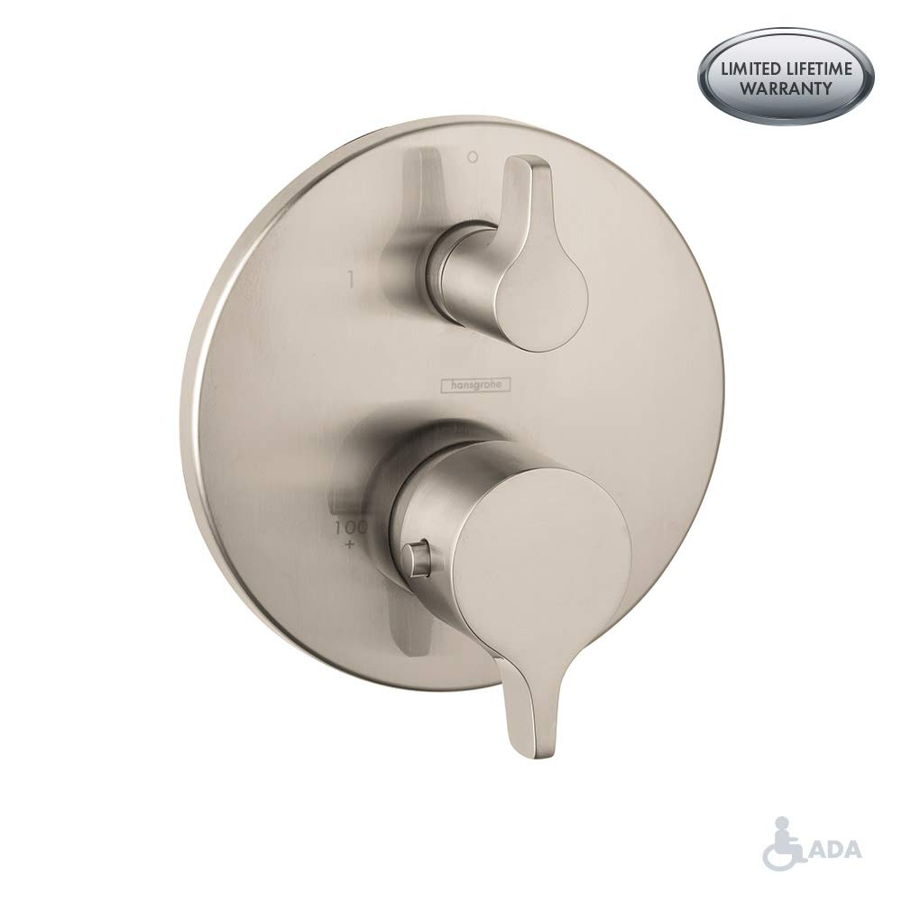 Hansgrohe 4448820 S/E Pressure Balanced Valve Trim with Integrated Diverter, Small, Brushed Nickel by Hansgrohe