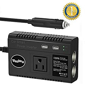 Tesla's 120W Car Power Inverter with AC Outlet, 4.8A Dual USB Ports Car Adapter and 2 Cigarette Lighter Sockets (2 Fuse Included)
