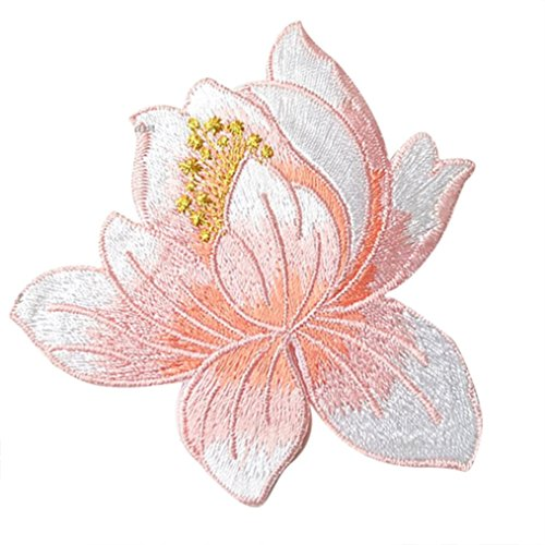 Patch Sew Iron - Transer Cute Lotus Embroidered Sew Iron On Patch Fabric Bag Clothes Applique Trim (D)