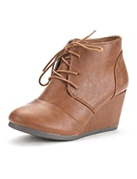 DREAM PAIRS TOMSON/NARIE Women's Casual Outdoor Lace Up/Zipper Low Wedge Heel Boots