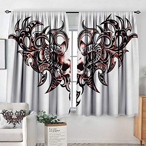 - All of better Tattoo Patterned Drape for Glass Door Goat Skull Shaped Swirl Blur Lines in Digital Watercolor Stylized Artsy Design Print Bedroom Blackout Curtains 72