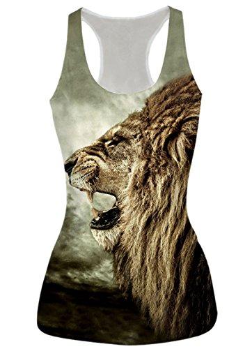 Price comparison product image Leapparel Women's 3d Roaring Lion Printed Sleeveless T Shirt Tank Tops Vest Shirt