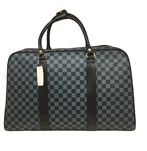 BAG BAG NEW TRAVEL LUGGAGE WEEKEND BARREL CHECK DESIGNER Blue WOMEN LADIES w6z8Iq