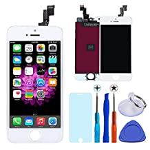 KAICEN Touch Screen 4.0 inches Digitizer Frame Replacement Assembly Full Set and Toughened glass protective film + Tool sleeve(iphone 5s White)