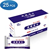 Honeytecs 25 Pcs Alcohol Wipes 75 Degree Alcohol Pads Individual Package Household Sterilization Hand Wipes Portable Hands-Free Wet Tissue for Home Offices Schools (Box Packaged)