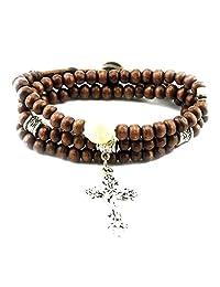 Mintik Jewelry Men's Womens Celtic Cross Vintage Wooden Beads Ethnic Necklace Multi-Strands Wrap Bracelet