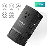 TryAce 1875W World Travel Adapter and Converter Combo 240V to 110V International Voltage Converter For Hair Dryer, Phones Laptop All in One Universal Plug Adapter For UK/AU/US/EU over 150 Countries