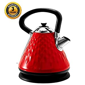 Electric Tea Kettle Stainless Steel SVVSS Fast Boiling Water Pot 1.7Liter (NON-BPA) with Thermometer Glass