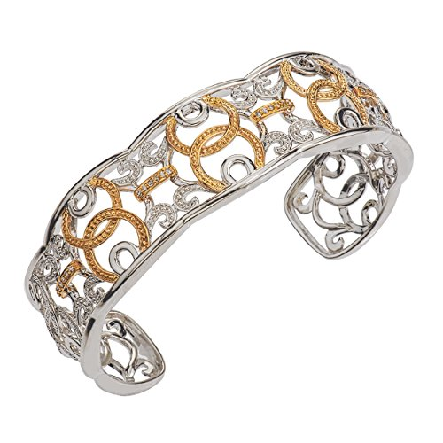 Diamond Bracelet 1/8 ct tw Round-cut Sterling Silver/10K Gold