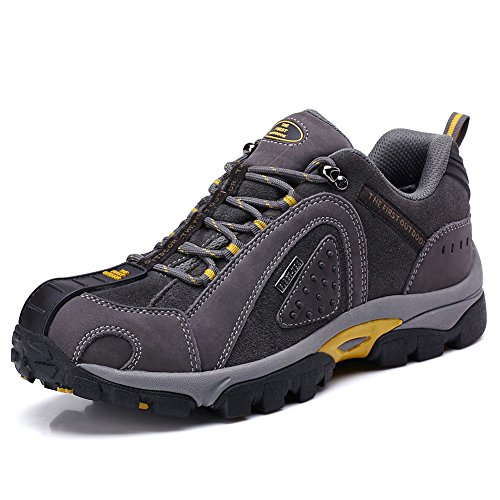 TFO Men's Outdoor Hiking shoes Waterproof Walking shoes Low Rise Climbing shoes Anti-slip Trekking shoes,Gray(UK9)