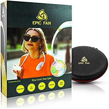 Epic Fan - Portable Fan, Hands Free Personal Fan, Neck Fan with Aromatherapy + LED Light + 3 Wind Speeds, Lithium Battery Operated Fan, Rechargeable Micro USB Fan, 4-12h+ of use - Bundled w/EVA Case