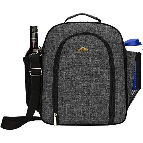 NiceEbag 4 Person Picnic Tote Bag Stylish All-in-One Portable Picnic Basket Shoulder Bag With Detachable Shoulder Strap And Bottle/Wine Holder,Fleece Blanket Pocket, Perfect For Family Picnic (Black)