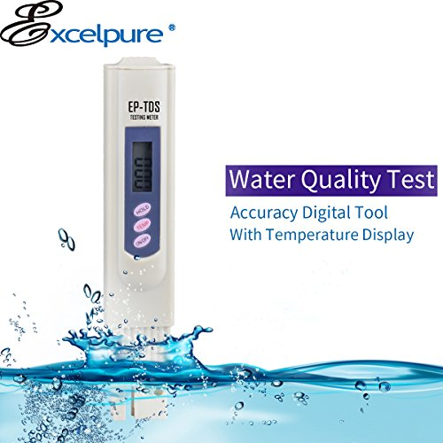 (ExcelPure TDS Handheld TDS Meter with 3-Button Digital, Carrying case for Household Drinking Water,Aquarium Pool, Swimming Pools (0-9990 ppm Measurement Range; 1 PPM Accuracy) )