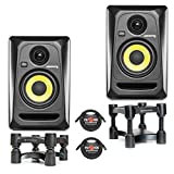 KRK RP4G3 Studio Monitor White PAIR w/ IsoAcoustics L8R130 Stands & Pig Hog PHM10 XLR Cables (Black)