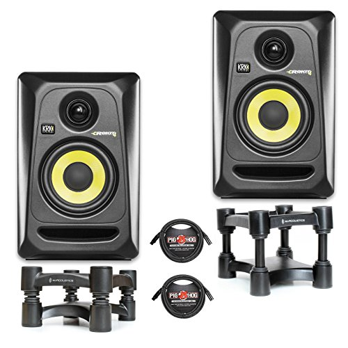 KRK RP4G3 Studio Monitor White PAIR w/ IsoAcoustics L8R130 Stands & Pig Hog PHM10 XLR Cables (Black) by KRK
