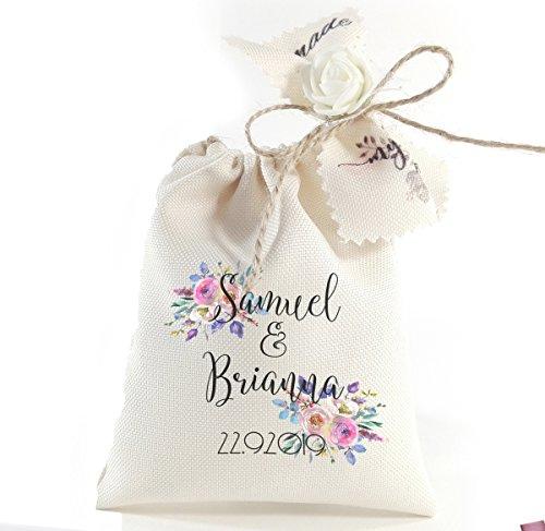 Custom party favors for guests - Personalized favor bags - Bulk wedding decorations - Vintage engagement souvenir bags 6 or 12 pcs ()