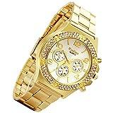 (US) Lancardo Luxury Bling Double Daul Rhinestone Bezel Gold Tone Watch (Gold)
