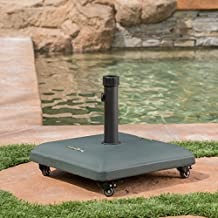 Great Deal Furniture Louise Outdoor Green Concrete Square 80lb Umbrella Base with Steel Umbrella Holder