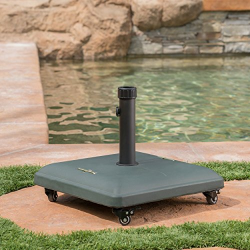 (Great Deal Furniture 303990 Louise Outdoor Green Concrete Square 80lb Base with Steel Umbrella Holder, 19.60 x 19.60 x 16.30,)
