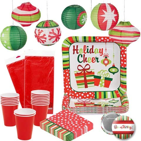Christmas Holiday Tableware Disposable Set Tablecloths, Plates, Napkins, and Cups for 16 People by RBBZ Party