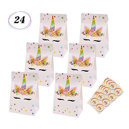 Unicorn Candy Bags Goodie Small Gift Toy Treat Favor Bags for Kids Unicorn Themed Baby Shower Birthday Party Supplies, Set of 24