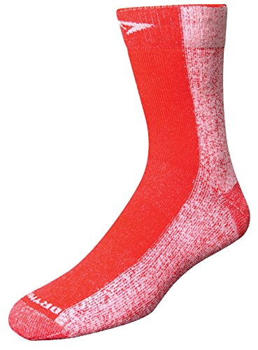 Run Crew Socks, Red, Medium (W7.5-9.5 / M6-8) (Drymax Running Socks)