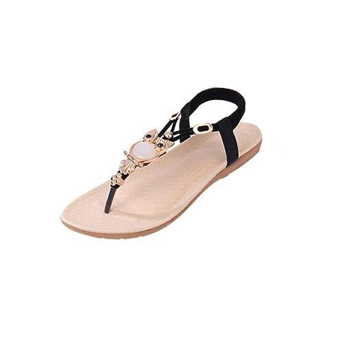 f1134d244f6b1b Fullkang Women Cute Rhinestone Owl Sweet Sandals Clip Toe Beach Sandals (US  5.5