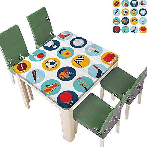 Printsonne Tablecloth with Soccer Golf Table Tennis Balls Gloves Skate Shoes Sporty Table Top Cover 23 x 23 -
