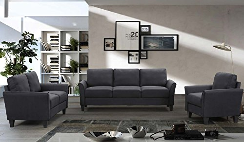 Harper&Bright Designs Sofa Set 3-piece Sofa and Loveseat Chair with Single Chair(3-Seat Sofa & Loveseat & Chair) (Black)