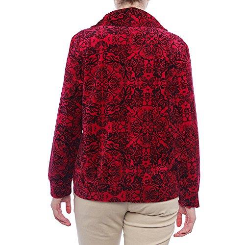 Giacca Con Da Zip In Co Rosso Donna Stile Prussiano Velluto SfZawnq