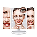 Lighted Makeup Vanity Mirror with 24 Adjustable Brightness LED Lights, LANGRIA Trifold Cosmetic Mirror, 3x/2x Magnification, Removable 10x Mirror, 180° Adjustable Rotation, Dual Power Supply(White)