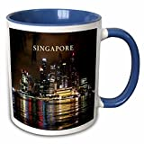 3dRose 80574_6 Beautiful Photo of Singapore At Night Two Tone Mug, 11 oz, Blue
