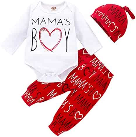 1st Valentine's Day Newborn Pajamas Set, Infant Baby Boys Letter Print Romper Bodysuit Cotton Pants Sleeping Hat