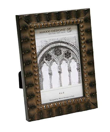 Maxxi Designs Arezzo Photo Frame, 4'' x 6'', Antique Black with Beads by Maxxi Designs