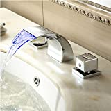 Yanksmart S6557 3 Color Changing Water Power LED Waterfall Widespread Bathroom Sink Faucet, Chrome Finish