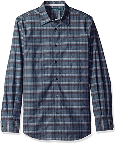 Perry Ellis Men's Longitude Plaid Shirt, Total Eclipse, M