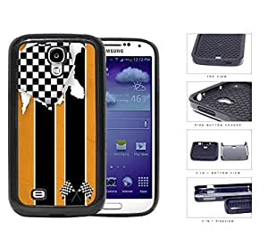 American Distorted Orange Racing Flag 2-Piece Dual Layer High Impact Rubber Silicone Cell Phone Case Samsung Galaxy S4 SIV I9500