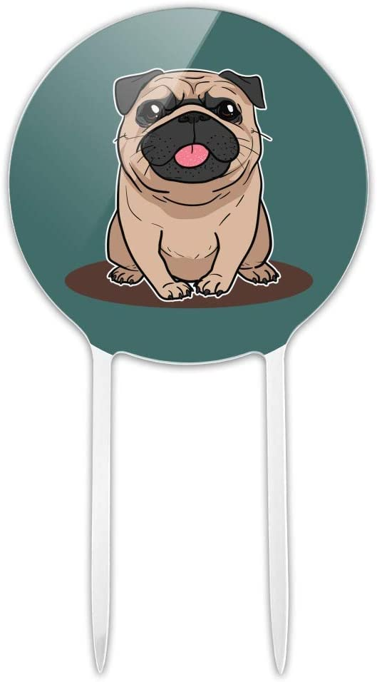 GRAPHICS & MORE Acrylic Pug Sticking Out Tongue Cake Topper Party Decoration for Wedding Anniversary Birthday Graduation
