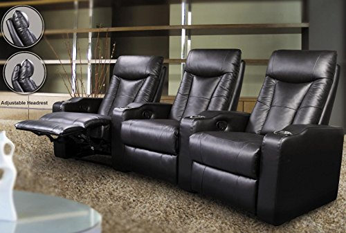 Leggett Leather Recliner (600130-3 Pavillion Contemporary 3 Seated Theater by Coaster Co.)