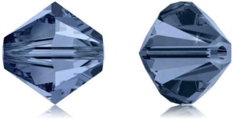 Adabele - Cuentas de cristal bicone austriaco de 5 mm, color índigo oscuro, compatible con cristales de Swarovski Preciosa 5301/5328 SSB520