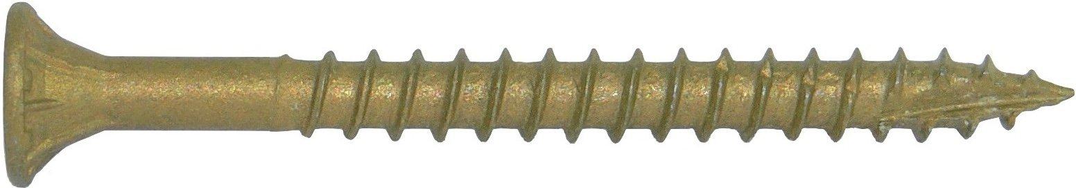 #9 x 1-1/2'' Bronze Star Exterior Coated Wood Screw Torx/Star Drive Head (5 Pounds) - Multipurpose Exterior Coated Torx/Star Drive Wood Screws