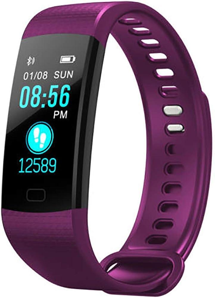 Milnnare Reloj Inteligente Presión Arterial Frecuencia cardíaca Monitor de sueño Podómetro Sports Fitness Smart Pulsera - Purple