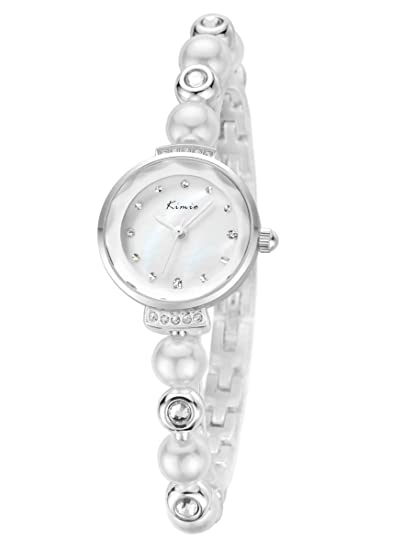 Alienwork Reloj Mujer Relojes Acero Inoxidable Plata Analógicos Cuarzo Impermeable nácar Strass Purpurina