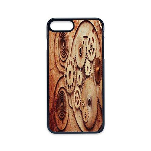 Mechanical Copper Clock (Phone Case Compatible with iPhone7 plus iPhone8 plus 2D print Black edge,Copper,Mechanical Clocks Details Old Rusty Look Backdrop Gears Steampunk Design Decorative,Dark Orange Peach,Hard Plastic Phone)