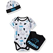 NFL Oakland Raiders Boys Bodysuit Bib & Cap Set, 3-6 Months, Black