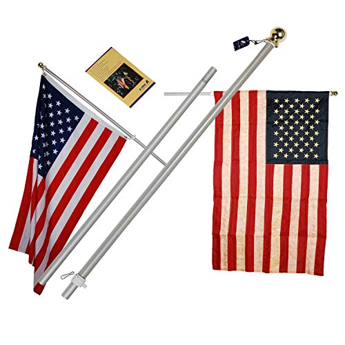 - A-One 6Ft Brushed Aluminum Tangle Free Flag Pole - Heavy Duty Classical American US Outdoor Wall Mount FlagPole Kit for Residential or Commercial, Wind Resistant & Rust Free. Silver