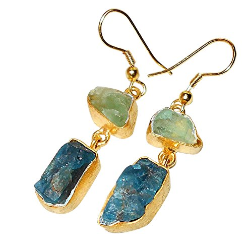 Sitara Collections SC103054 Gold-Plated Brass Earrings, Green Fluorite/Aqua Chalcedony