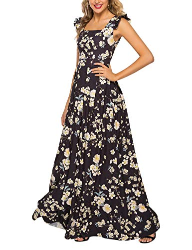 Simple Flavor Women's Sleeveless Floral Maxi Dress Casual Summer Long Dress (0686Black,M)